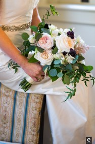 Blush garden roses, Burgundy scabiosa and mixed foliages for a fall bride.