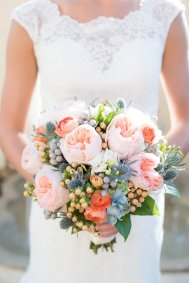 Peach and blue bridal bouquet.