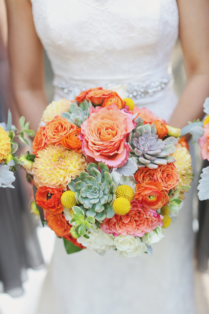 Coral and mint bridal bouquet