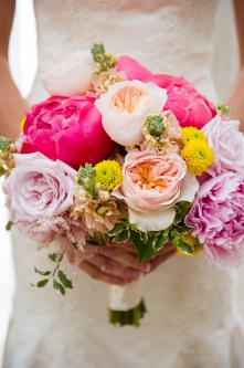 Vibrant spring bouquet- peonies, garden roses and colorful accents.