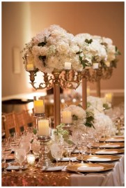 Tall gold candelabra for reception table.