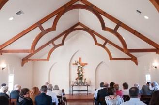 Indoor wedding ceremony at Heritage House.