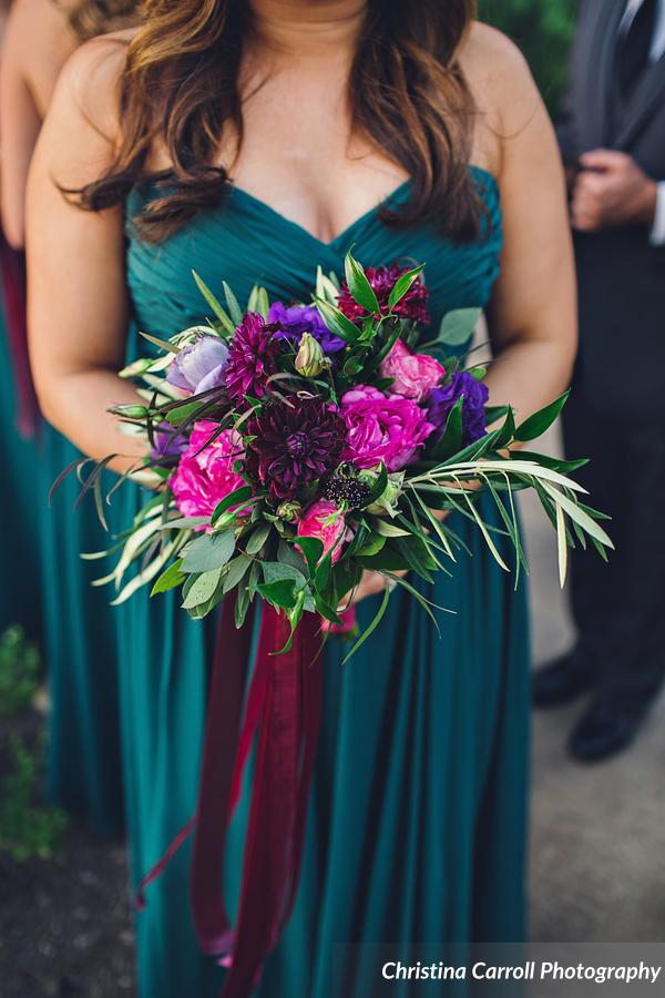 Burgandy, fuchsia and teal bridesmaids flowers