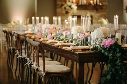 Eucalyptus garland and taper candles for head table