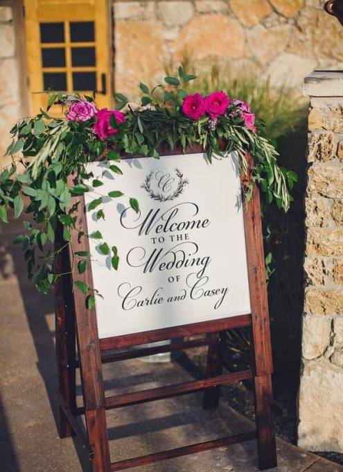 greenery garland welcome sign