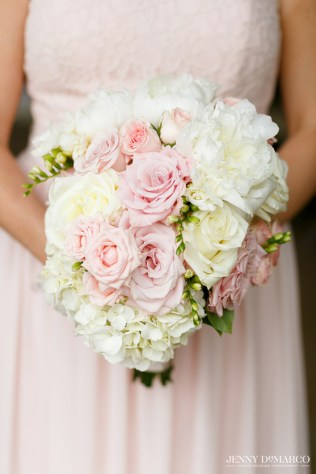 Bouquet of blush roses, white peony and hydrangea for bridesmaids to carry.