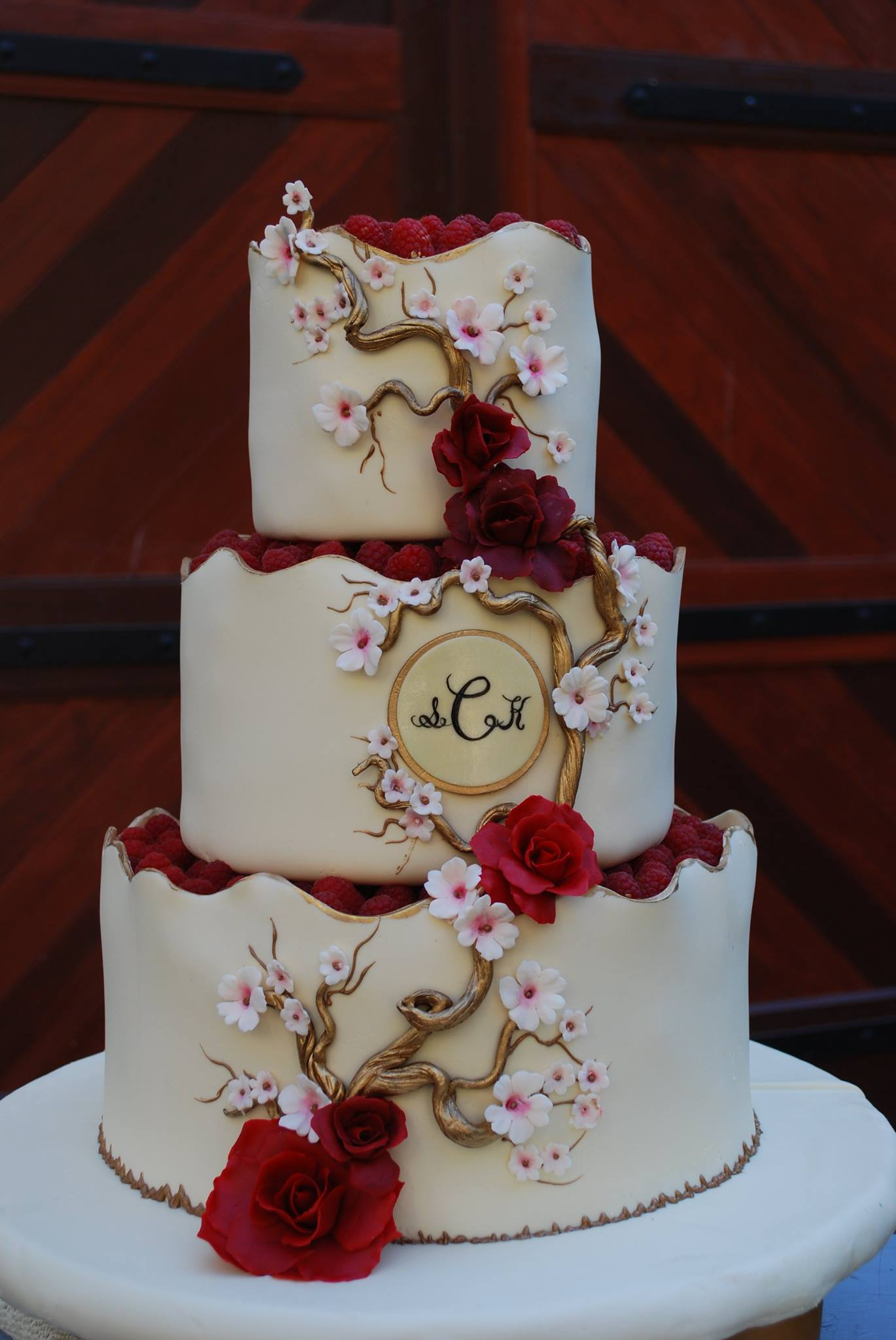 And White Accents Wedding Cake Red Black