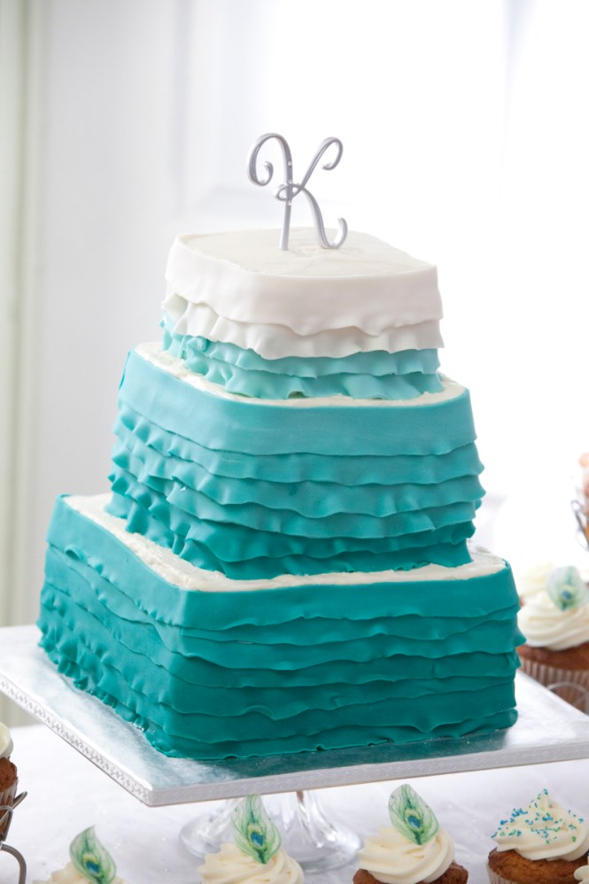 Wedding Cakes Purple And Teal Adorned Preciously