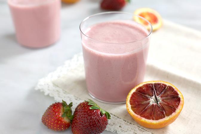 Blood Orange and Strawberry Kefir Smoothies