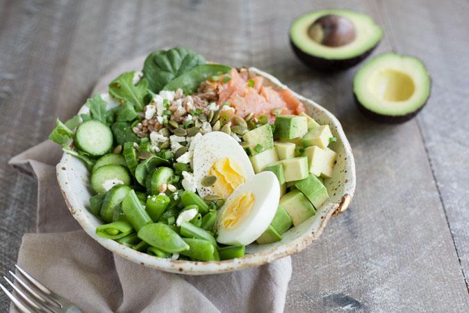 Smoked Salmon Farro Salad Bowls