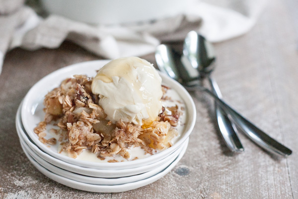 Bourbon and Honey Apple Crisp | BourbonandHoney.com -- Slightly sweet, delicious and totally comforting this easy Bourbon and Honey Apple Crisp is the perfect cold weather dessert!