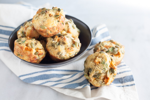 Spinach Feta and Sweet Potato Muffins | BourbonandHoney.com -- Hearty, savory and quick to make, these Spinach, Feta and Sweet Potato Muffins are a great make-ahead brunch or veggie packed snack.