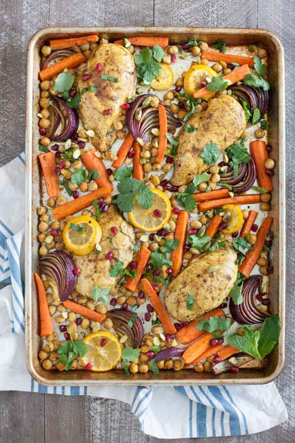 Sheet Pan Moroccan Spiced Chicken | BourbonandHoney.com -- This super easy Sheet Pan Moroccan Spiced Chicken recipe is a dinner win! It's fresh, quick and flavorful enough to get your out of a recipe rut!