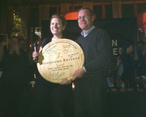 Mixologist Joanne Spiegel wins Master of the Manhattan and poses with Woodford Reserve Mixologist Chris Morris
