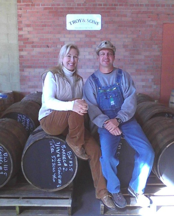 Tim Smith with Troy Ball of Troy and Sons Moonshiner Distillers, Asheville, North Carolina