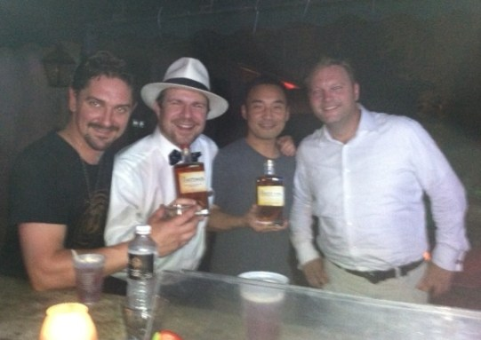 Celebrating with W. H. Harrison Bourbon in New Orleans (L to R) Breckenridge Master Distiller Jordan VIa, BourbonBlog.com's Tom Fischer, Thirsty in LA, Jerry Knight Founder & CEO Tipton Spirits