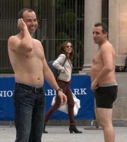 "Murr and Joe with ""Strip High Five"""