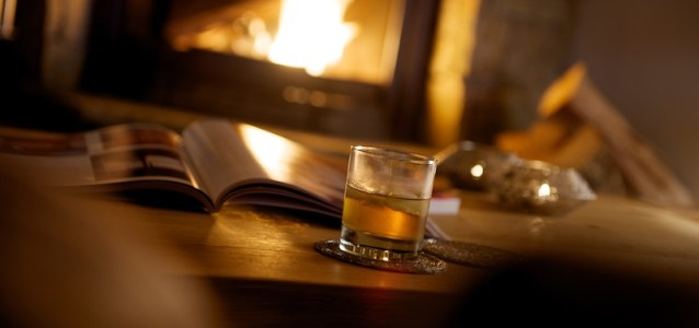 Whiskey by Fireplace