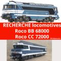 """Recherche Roco BB 68000 // Roco CC 72000 - Versions fret, multiservice, """"classique"""" (bleu)"""