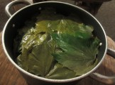 Pot of stuffed grape leaves