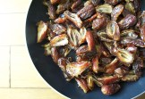 pitted dates in a pan