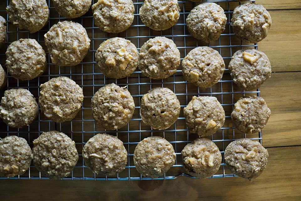 Apple Oatmeal Mini Muffins on a drying rack