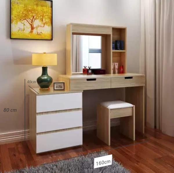 Commode EMMA design moderne avec 5 tiroir fabriquée en Tunisie sonoma et blanc
