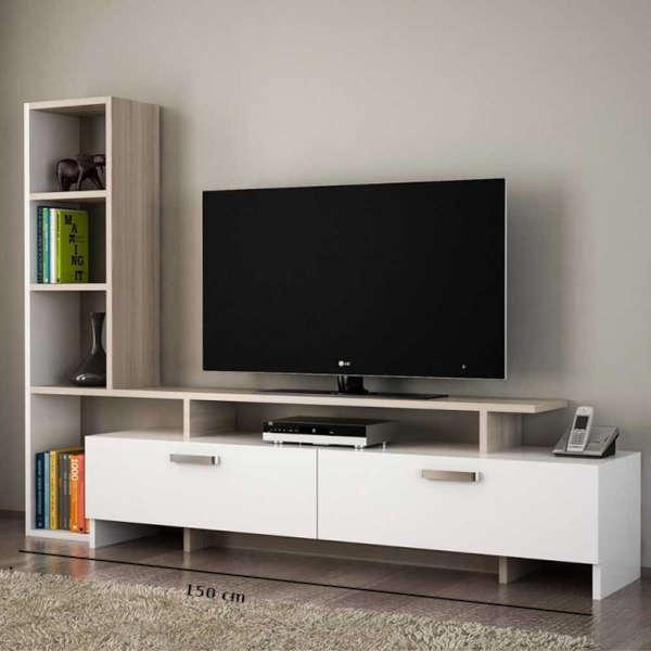 Table TV cordoba avec étagères et 2 tiroirs