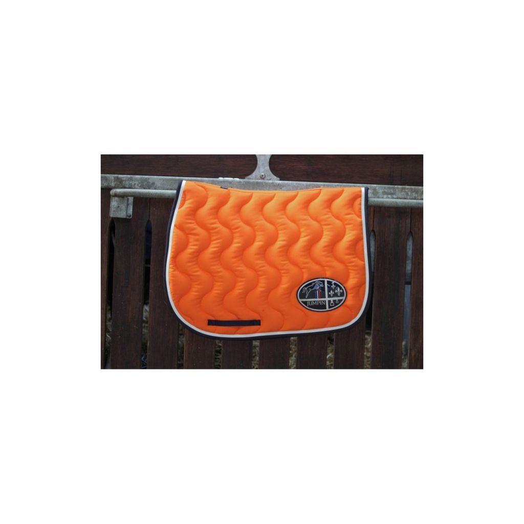tapis de selle orange verni blanc marine jump in boutique equitation