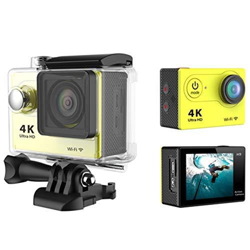 AimdonR Caméra de surveillance complète pour activités en extérieur, caméra étanche, 12 Mpx, 6 G + objectif infrarouge 170 °, jaune