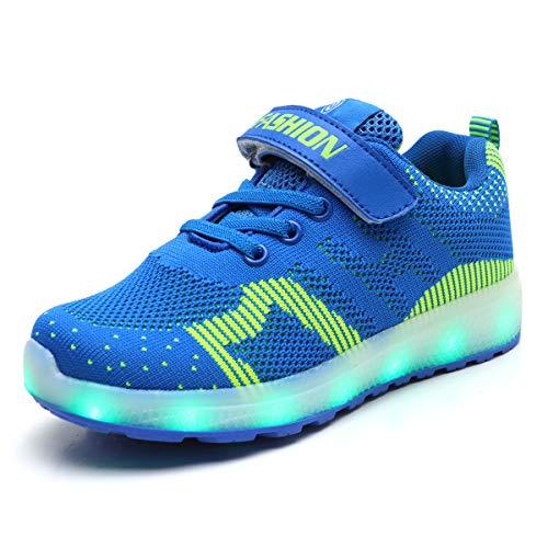 Axcer Mixte Enfants LED Chaussures de Sport 7 Changement de Couleur USB Rechargeable LED Lumineuse Clignotant Baskets Mode Ultra-léger Respirante Sneakers pour Garçons e Fille