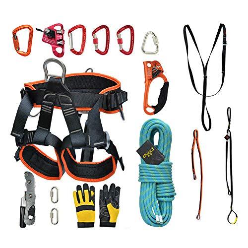 HMLIGHT 10 m / 20 m / 30 m extérieur Escalade d'alpinisme Escalade Jeu de Corde avec Ceinture de sécurité/Boucle/descendeur/Riser/Sac de Rangement,100m