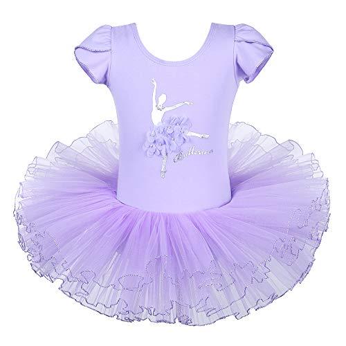 HUAANIUE Princesse Élégance Robe Danse Classique Tutu Ballet en Dentelles (Violet, 4-5 Ans(étiquette L))