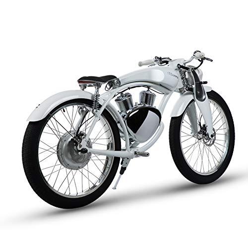 Qnlly 2.0 Batterie de Lithium électrique de Moto électrique de de 26 Pouces de Batterie au Lithium 48V futée Superbe E-Moteur 50km la Vie Maximum de Batterie,Blanc