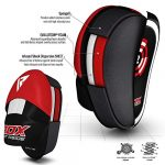 RDX MMA Incurvé Pattes D'ours Boxe Muay Thai Pao Frappe Entraînement Cible kickboxing Pads Mitaines Gants – Rouge/Blanc – 16oz