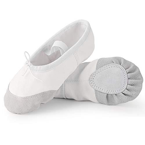 Soudittur Chaussure de Ballet Classique Ballerine Fille Toile Chaussures de Danse Pilates Gymnastique Split Plate Ballet Doux Chaussons pour Femmes EU 24 Blanc