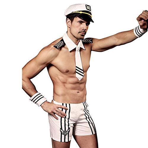 Deguisement Marin Homme Sexy Cosplay, Vêtement De Nuit Clubwear Jeu De Rôle,Blanc