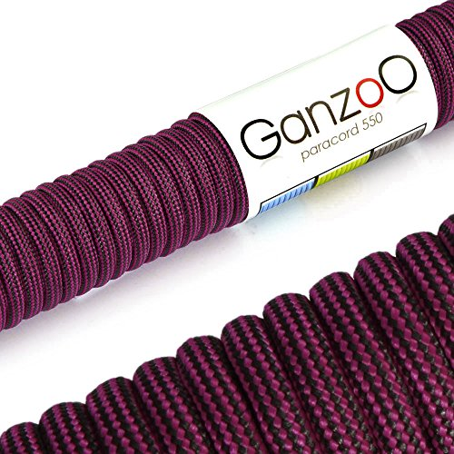 Paracorde 550 corde, pour bracelet ou collier de chien, 31 mètres, noir magenta