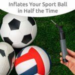 Une pompe à ballon double action, fournie avec 2 aiguilles de rechange. La pompe à air idéale pour votre ballon de football, rugby, volley, basket, handball ou autres balles gonflables