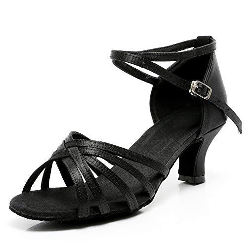 VASHCAME-Chaussures a Talons Hauts de Danse Latine Sandales pour Femme Noir 40 (Tacón-5cm)