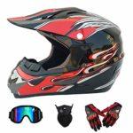 WSFF-FAN Casque Moto ATV ADV UTV Moto Cross Country D.O.T Endurance Certification sécurité, avec oculaires/Gants/Masque,C,XL(60~61) CM