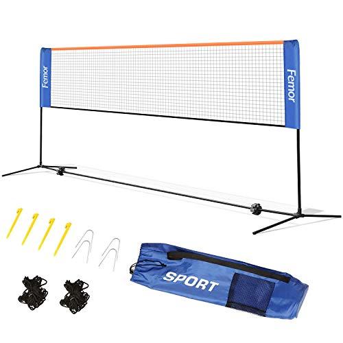 FEMOR Filet Portable de Badminton Volley-ball Tennis Réglable en Hauteur Standard pour les Sports Intérieurs ou Extérieurs Légère Pliable 4 Mètres