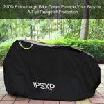 IPSXP Housse Protection Vélo, 210D Exterieur Couverture Vélo avec Trous pour Antivols, pour jusqu'à 29 Pouces VTT Bicyclette Moto Vélo de Montagne Route Électrique Scooter (L 208 x H 112 x W 76 cm)