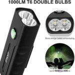 IPSXP Kit d'Éclairage Vélo Rechargeable, Lampe de Vélo Avant LED Puissant 1000 Lumen, 3 Modes de Luminosité, 2 Bandes Réfléchissantes de Sécurité pour Cycliste Camping