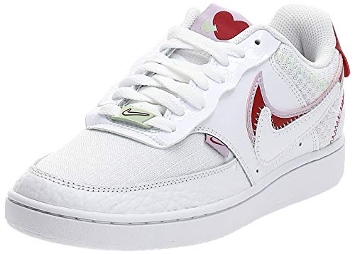 Nike WMNS Court Vision Lo Prmv Chaussures de Basketball pour Femme – – White Noble Red Ice Lilac, 41 EU