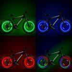 TAGVO LED Roue Lumières (Rouge + Vert + Bleu + Multicolore) Lot de 4, Rayons de Roue Vélo pour VTT VTC Bicyclette Adultes et Enfants, Lampe à LED Étanche à néon à pneus avec 3 Modes Clignotants