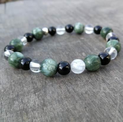 Bracelet seraphinite tourmaline cristal de roche