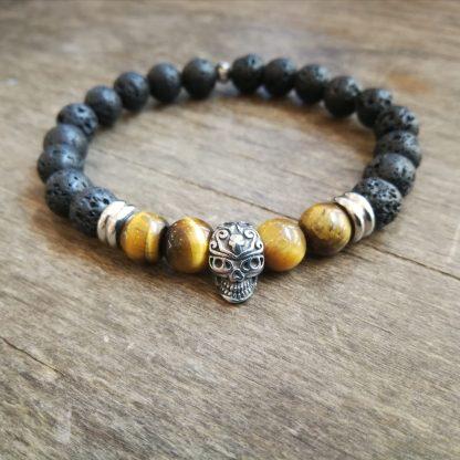 Bracelet pierre de lave et oeil du tigre