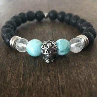 Bracelet Larimar pierre de lave Cristal de roche crâne