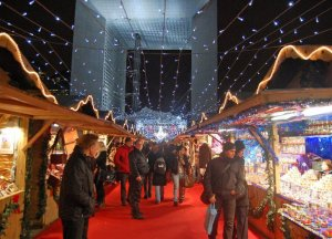Stalls at La Defense Christmas Market, Paris, France